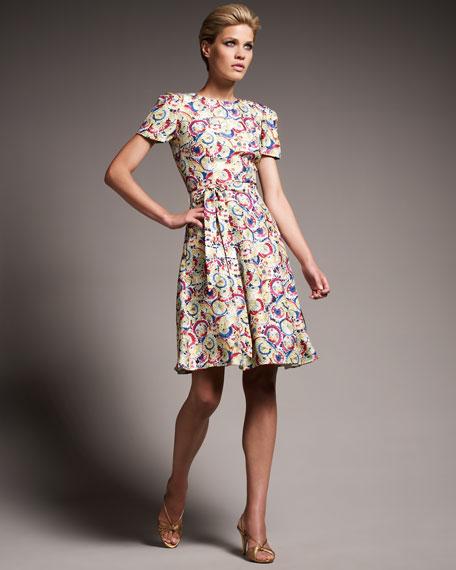 Parasol Print Cap-Sleeve Dress