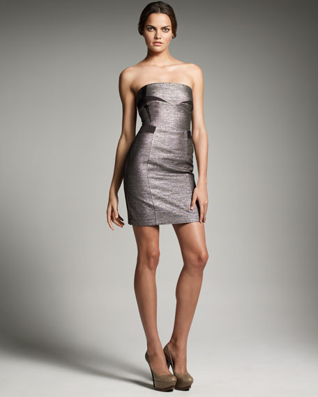 Strapless Metallic Dress