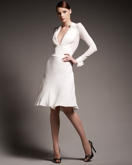 Illusion Long-Sleeve Dress