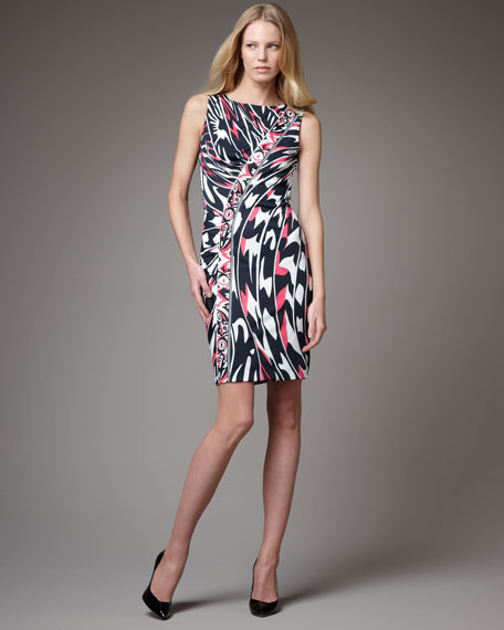 Exclusive Asymmetric Border Jersey Dress