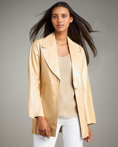 Shamask Leather Swing Coat
