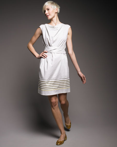 Striped Cowl-Neck Dress