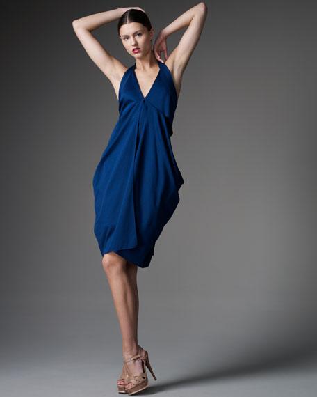 Fluid Jersey Draped Halter Dress