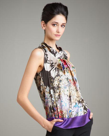 Cowl-Neck Floral-Print Top