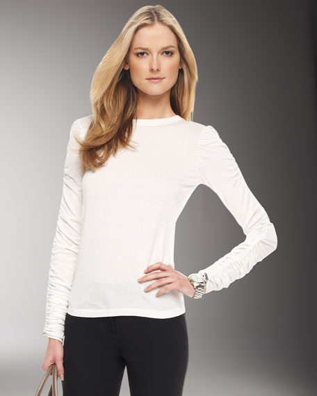 Ruched-Sleeve Sweater, White