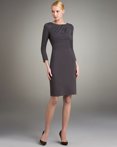 Ruched Three-Quarter Sleeve Dress