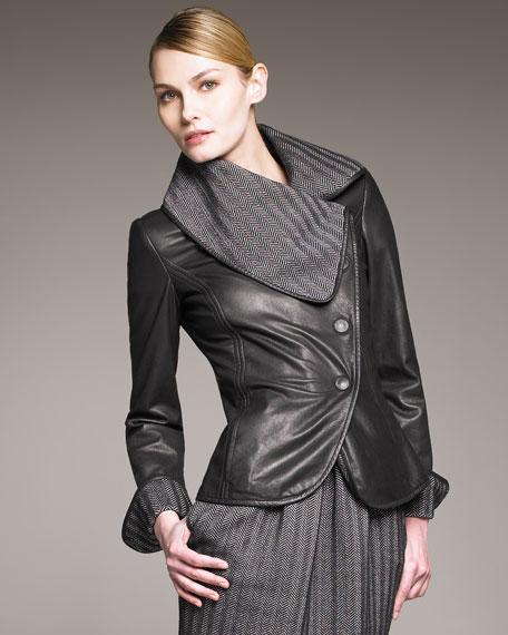 Herringbone-Lined Leather Jacket