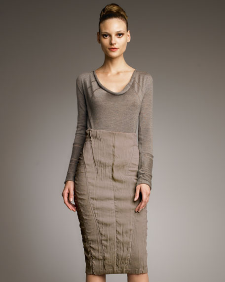 Double-Layer Ruched Skirt