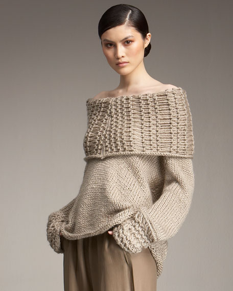 Airspun Off-The-Shoulder Sweater