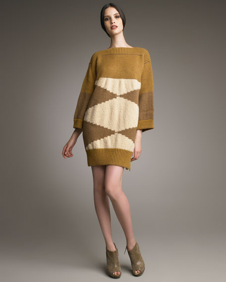 Geometric Intarsia-Knit Dress