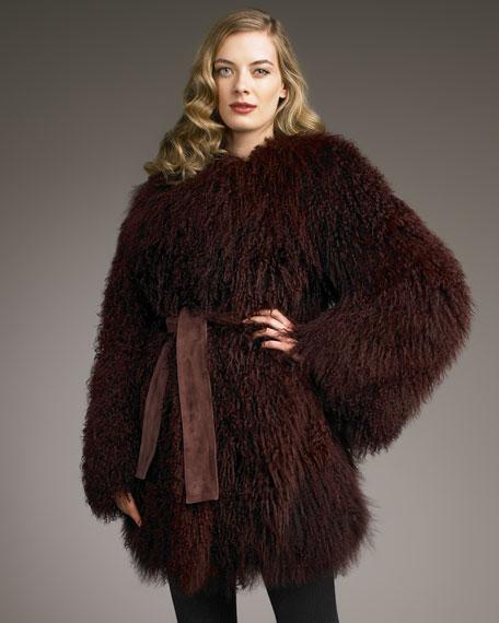 Belted Mongolian Fur Coat