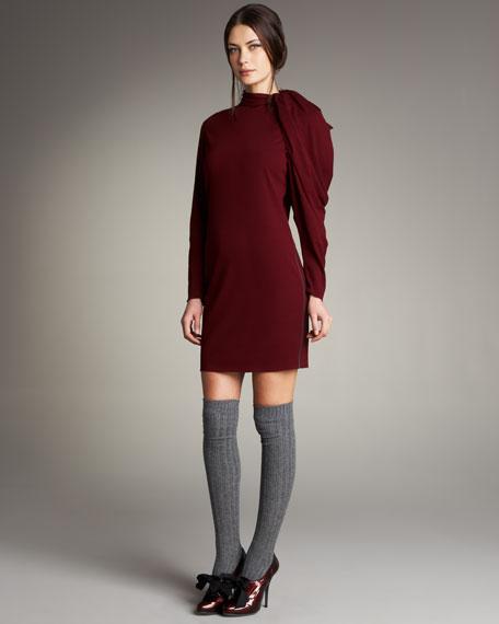 Draped-Sleeve Dress