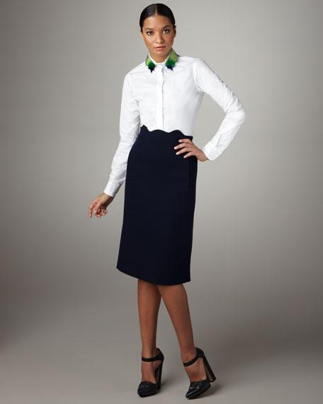 Liu Wen Scalloped-Waist Skirt