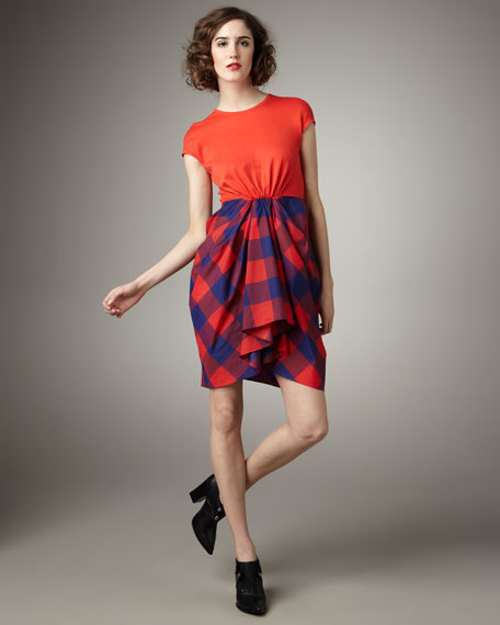 Thakoon Plaid Taffeta-Skirt Dress