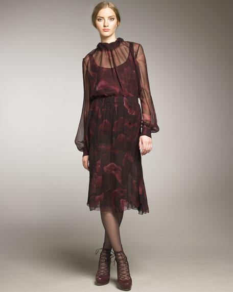 Lily-Printed Silk Skirt