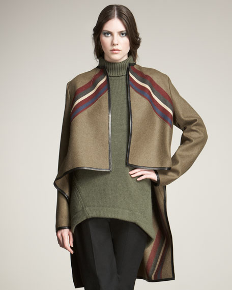 Racing-Stripe Caped Jacket