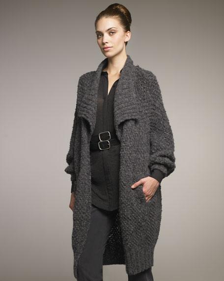 Shawl-Collar Knit Jacket
