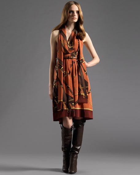 Relia-Print Belted Tie Dress