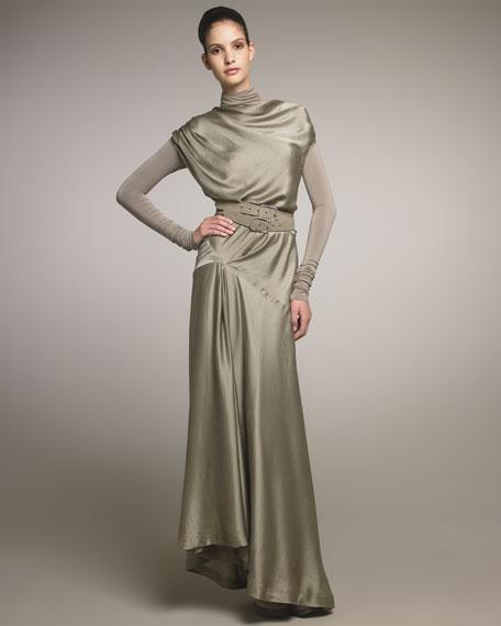 Draped Satin Gown