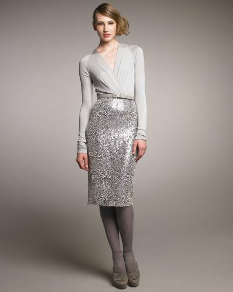Solar Diamond-Sequined Skirt