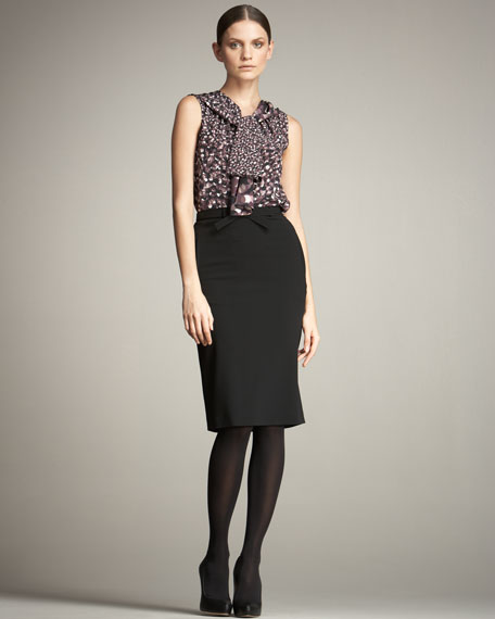 Belted Straight Skirt