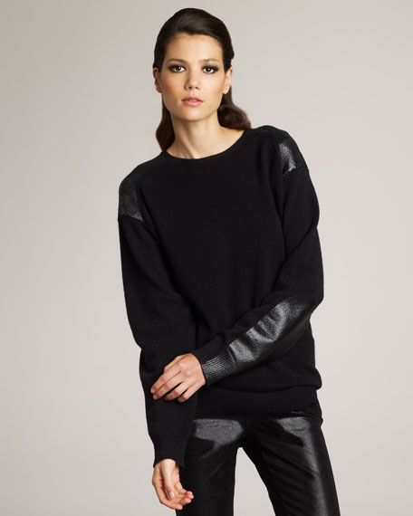 Faux-Leather Patch Sweater