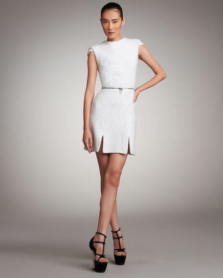 Zip-Waist Tweed Dress
