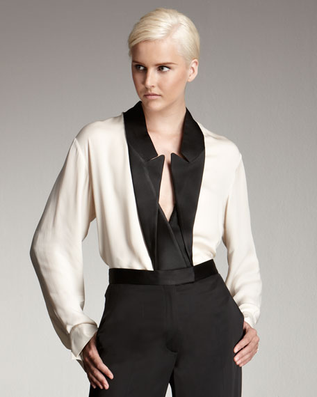 Inverted Tuxedo-Lapel Blouse