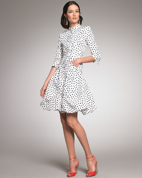 Polka-Dot Coat Dress