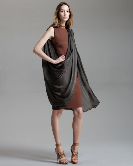 Chiffon-Overlay Sheath Dress