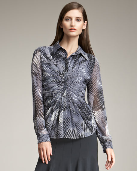 Pleated-Front Print Blouse