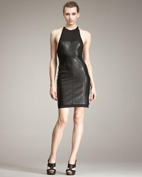 Leather & Knit Dress