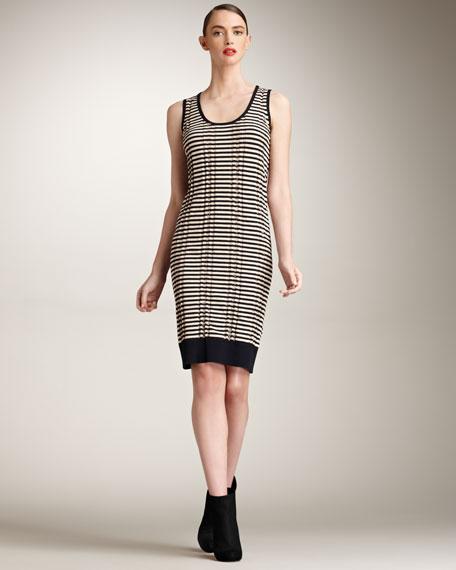 Stripe Scoop-Neck Knit Dress