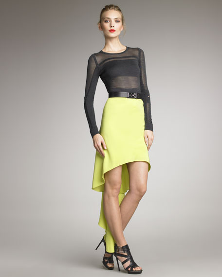 Cascade-Back Charmeuse Skirt