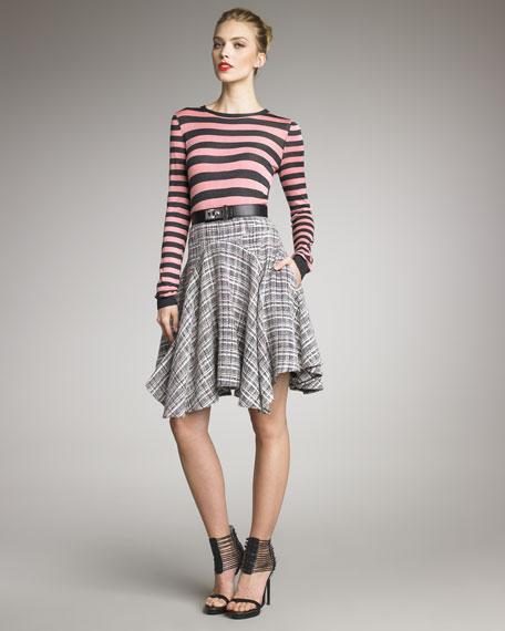 Handkerchief-Hem Tweed Skirt