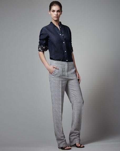 Diamond-Print Silk Pants