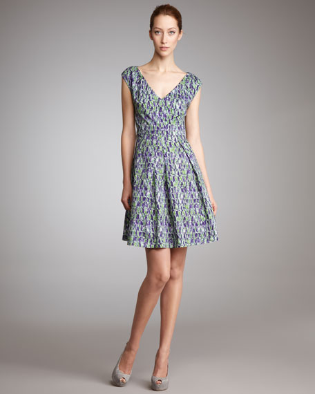 Printed V-Neck Cap-Sleeve Dress