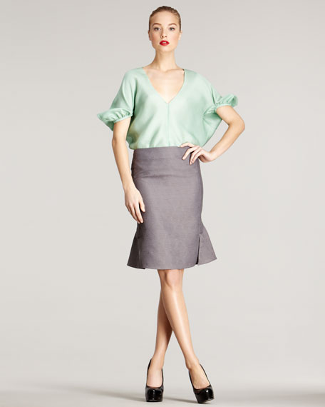 Fit-and-Flare Skirt, Gray
