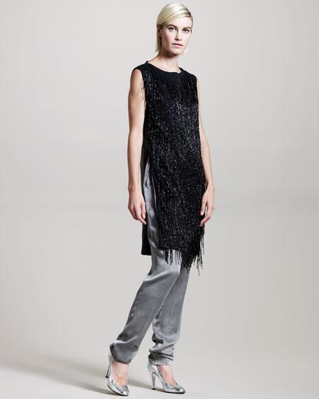 Beaded-Fringe Leather Dress