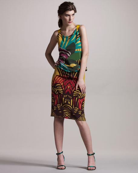 Palm-Print Chiffon Dress