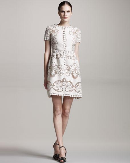 Button-Front Lace Dress