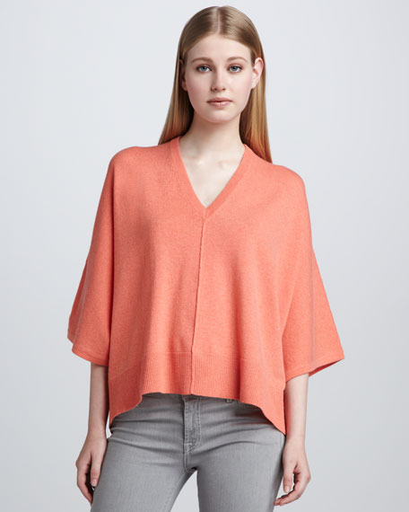 Batwing-Sleeve Cashmere Sweater, Papaya