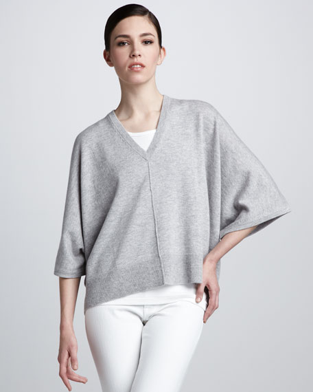 Batwing-Sleeve Cashmere Sweater, Pearl