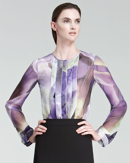 Pleated-Front Printed Silk Blouse