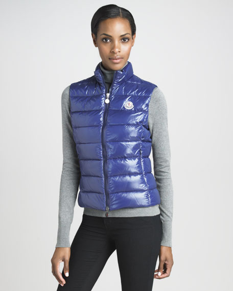 Laque Puffer Vest, Royal
