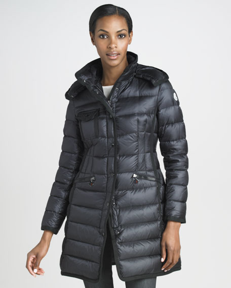 Mid-Length Grosgrain-Trim Puffer Coat