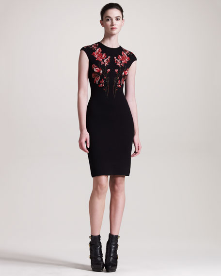 Floral Intarsia Cap-Sleeve Dress