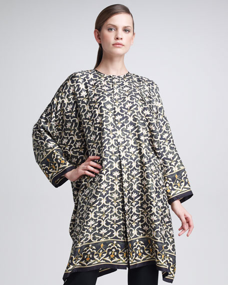 Lattice-Print Silk Shirt