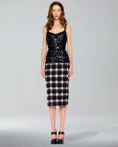 Sequined Plaid Combo Dress