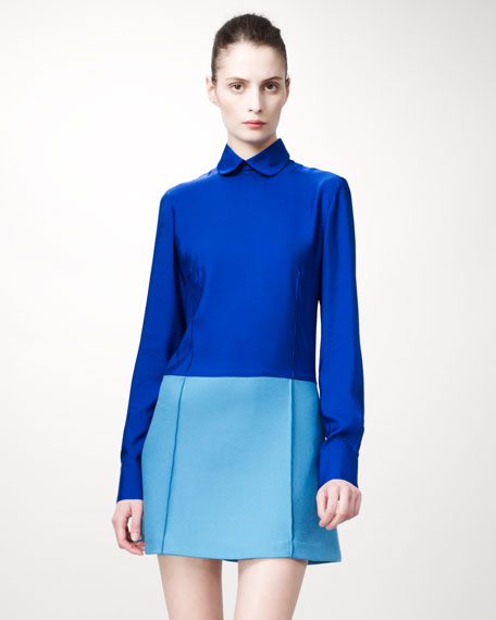 Detachable-Collared Colorblock Dress, Blue